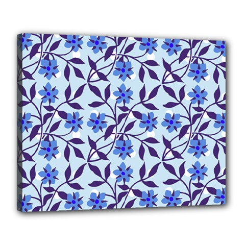 Blue Dot Floral Canvas 20  X 16  (stretched) by snowwhitegirl