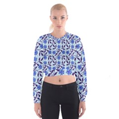 Blue Dot Floral Cropped Sweatshirt