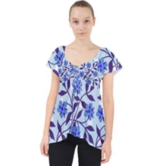 Blue Dot Floral Lace Front Dolly Top