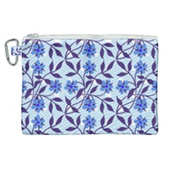 Blue Dot Floral Canvas Cosmetic Bag (xl)