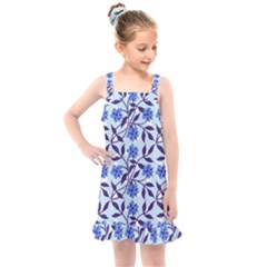 Blue Dot Floral Kids  Overall Dress