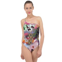 Pattern Patchwork Classic One Shoulder Swimsuit
