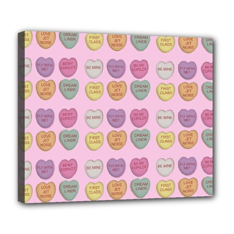 Valentine Hearts Pink Deluxe Canvas 24  X 20  (stretched) by snowwhitegirl