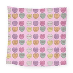 Valentine Hearts Pink Square Tapestry (large) by snowwhitegirl