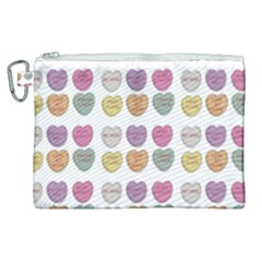 Valentine Hearts White Canvas Cosmetic Bag (xl) by snowwhitegirl
