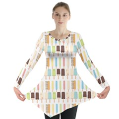 Candy Popsicles White Long Sleeve Tunic