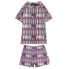 Candy Popsicles Purple Kids  Swim Tee And Shorts Set by snowwhitegirl