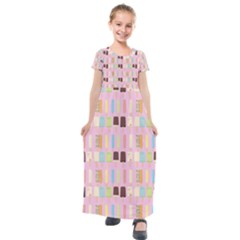 Candy Popsicles Pink Kids  Short Sleeve Maxi Dress