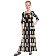 Candy Popsicles Black Kids  Quarter Sleeve Maxi Dress