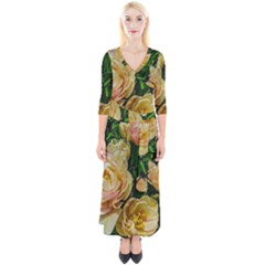 Early Summer Flowers Quarter Sleeve Wrap Maxi Dress by bloomingvinedesign