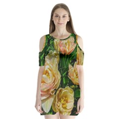 Early Summer Flowers Shoulder Cutout Velvet One Piece by bloomingvinedesign