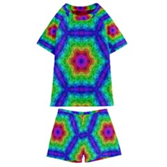 Rainbow Geometric Kids  Swim Tee And Shorts Set