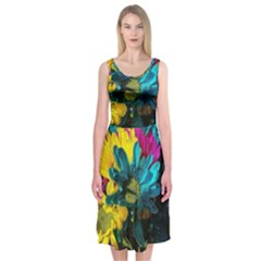 Colorful Daisies With Line Midi Sleeveless Dress by bloomingvinedesign