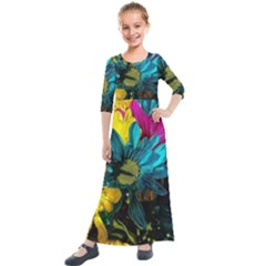 Colorful Daisies With Line Kids  Quarter Sleeve Maxi Dress by bloomingvinedesign
