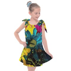 Colorful Daisies With Line Kids  Tie Up Tunic Dress by bloomingvinedesign