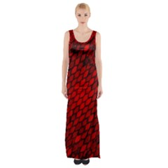 Red Dragon Scales Maxi Thigh Split Dress by bloomingvinedesign