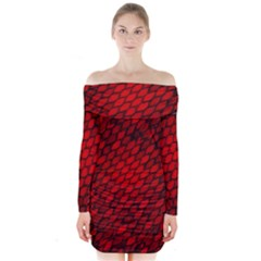 Red Dragon Scales Long Sleeve Off Shoulder Dress by bloomingvinedesign