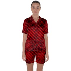Red Dragon Scales Satin Short Sleeve Pyjamas Set by bloomingvinedesign