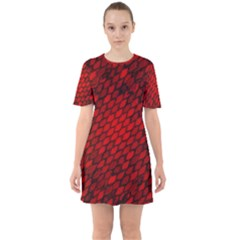 Red Dragon Scales Sixties Short Sleeve Mini Dress by bloomingvinedesign
