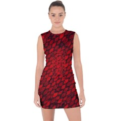 Red Dragon Scales Lace Up Front Bodycon Dress