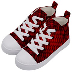 Red Dragon Scales Kid s Mid Top Canvas Sneakers by bloomingvinedesign