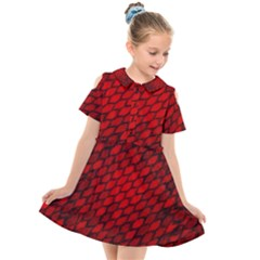Red Dragon Scales Kids  Short Sleeve Shirt Dress