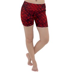 Red Dragon Scales Lightweight Velour Yoga Shorts by bloomingvinedesign