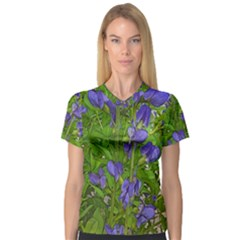 Purple Flowers Long Stems V Neck Sport Mesh Tee by bloomingvinedesign