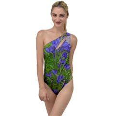 Purple Flowers Long Stems To One Side Swimsuit by bloomingvinedesign