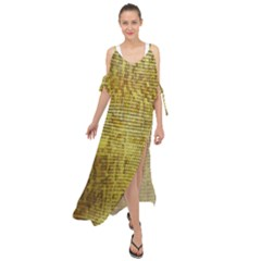 Golden Dragon Scales Pattern Maxi Chiffon Cover Up Dress by bloomingvinedesign