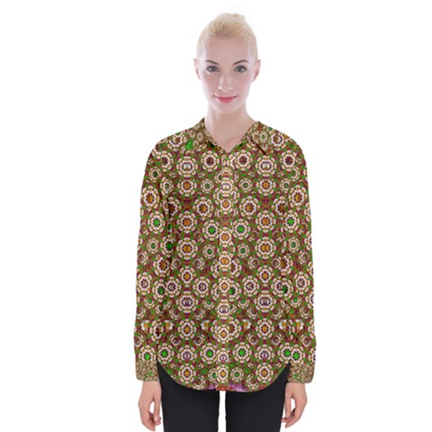 Flower Wreaths And Ornate Sweet Fauna Womens Long Sleeve Shirt by pepitasart