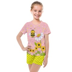 Pink & Yellow Adorable Bee & Floral Print Kids  Mesh Tee And Shorts Set