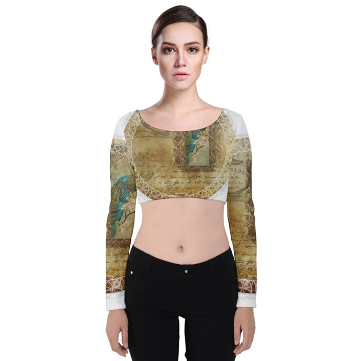 Tag 1763336 1280 Velvet Long Sleeve Crop Top