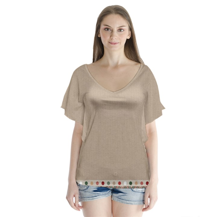 Background 1706649 1920 V-Neck Flutter Sleeve Top
