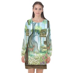 Town 1660349 1280 Long Sleeve Chiffon Shift Dress