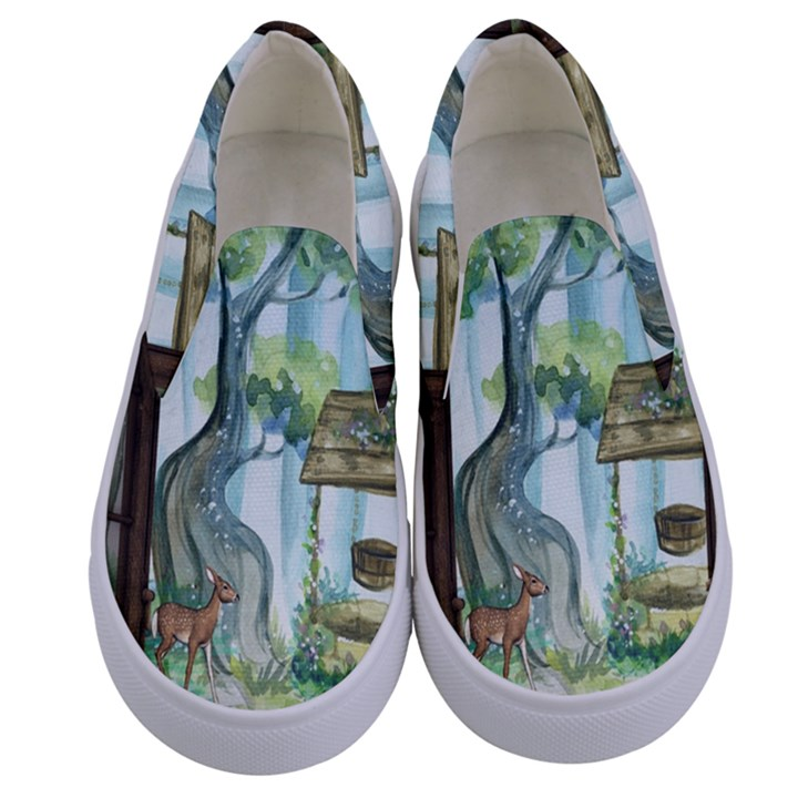 Town 1660349 1280 Kids  Canvas Slip Ons