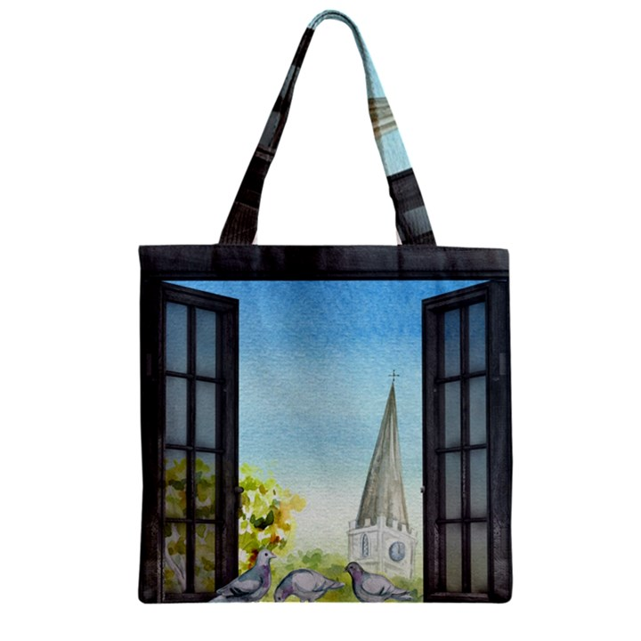 Town 1660455 1920 Zipper Grocery Tote Bag