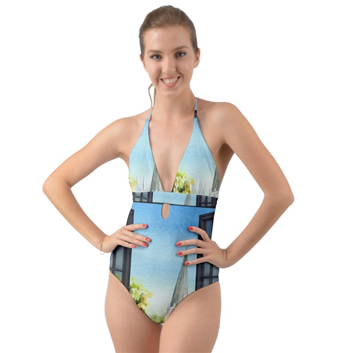 Town 1660455 1920 Halter Cut-Out One Piece Swimsuit