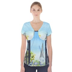 Town 1660455 1920 Short Sleeve Front Detail Top