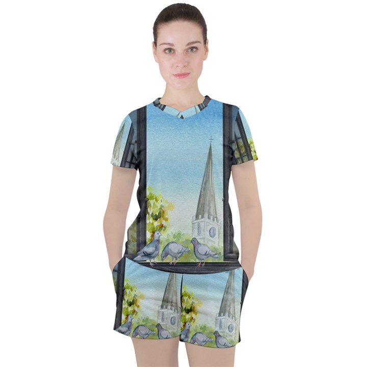 Town 1660455 1920 Women s Tee and Shorts Set