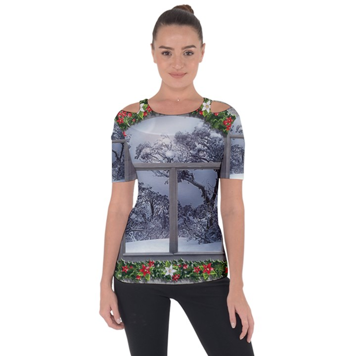 Winter 1660924 1920 Shoulder Cut Out Short Sleeve Top