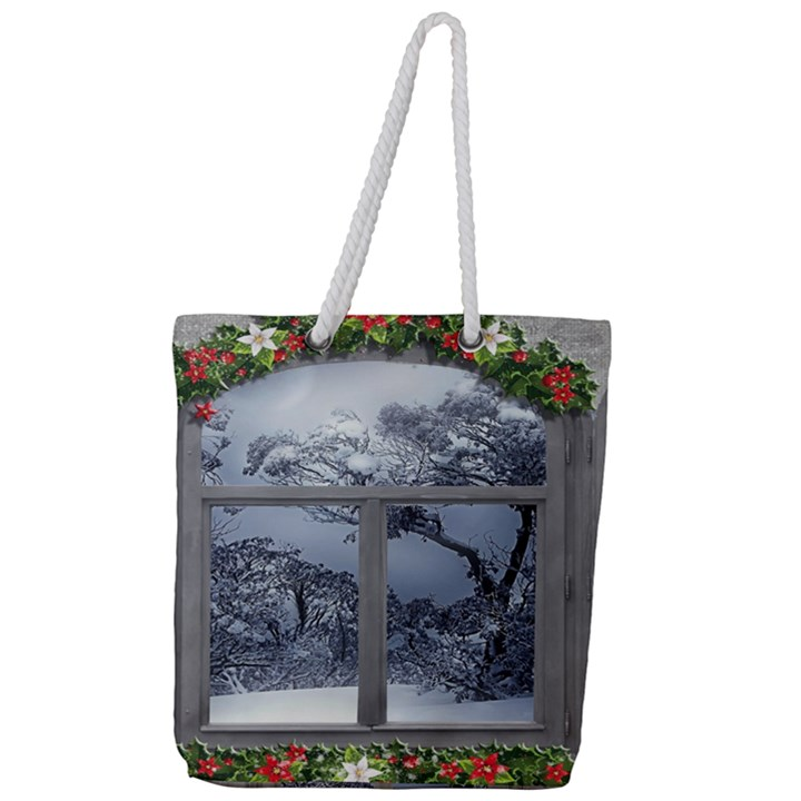 Winter 1660924 1920 Full Print Rope Handle Tote (Large)