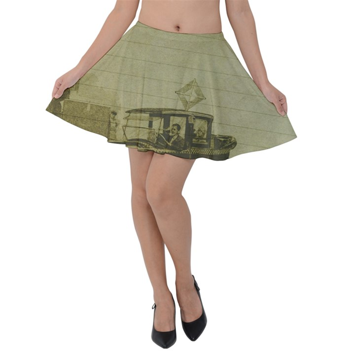 Background 1706642 1920 Velvet Skater Skirt