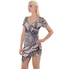 Flowers 1776630 1920 Short Sleeve Asymmetric Mini Dress