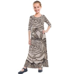 Flowers 1776630 1920 Kids  Quarter Sleeve Maxi Dress by vintage2030