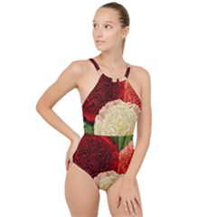 Flowers 1776584 1920 High Neck One Piece Swimsuit
