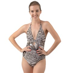 Flowers 1776626 1920 Halter Cut-out One Piece Swimsuit by vintage2030