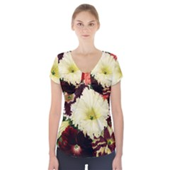 Flowers 1776585 1920 Short Sleeve Front Detail Top by vintage2030