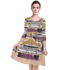 Retro Cars Quarter Sleeve Waist Band Dress