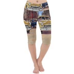 Retro Cars Lightweight Velour Cropped Yoga Leggings by vintage2030